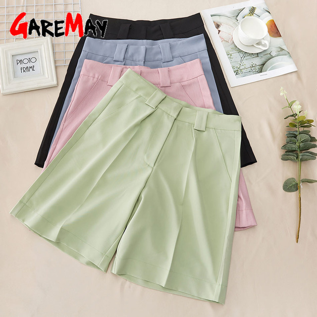 Women's Summer Shorts 2021 Long with High Waist Female Loose White Classic Knee-Length Office Wide Women's Shorts Black Candy 6