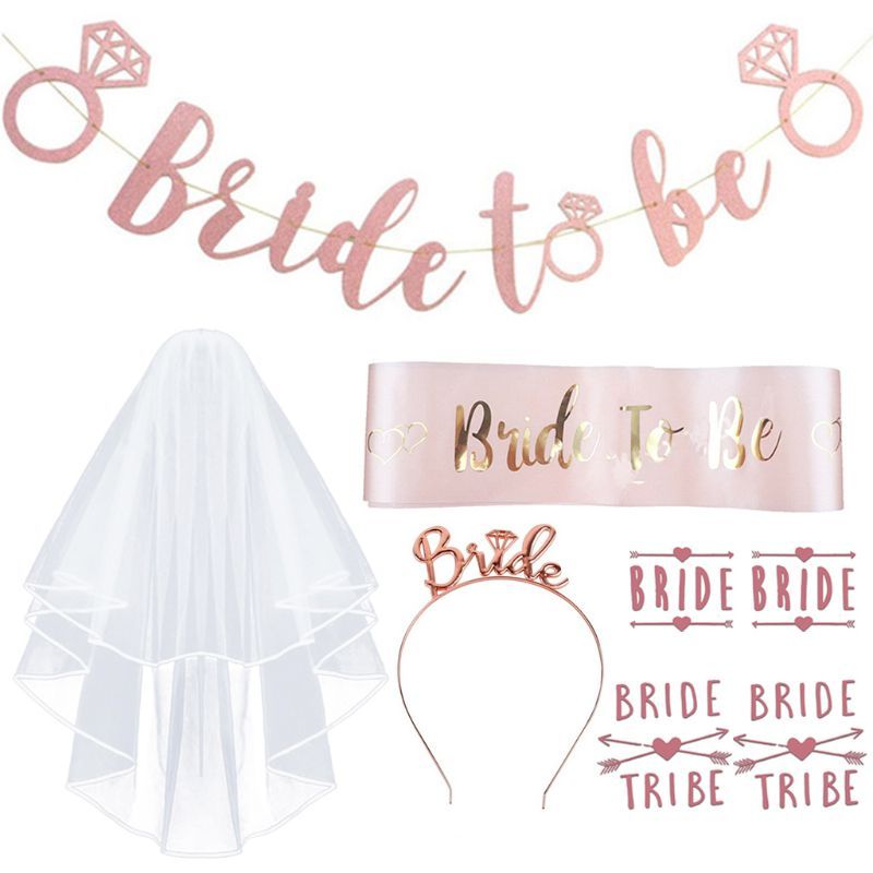 8Pcs/Set Bachelorette Party Decorations Rose Gold Kit Bride To Be Sash Banners Headband Wedding Veil Tattoos Hen Night Supplies