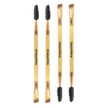 Кисть Duo Brow, Кисть для макияжа с деревянной ручкой, двухсторонняя плоская угловая кисть для бровей, инструменты для красоты, профессиональная скошенная спиральная кисть