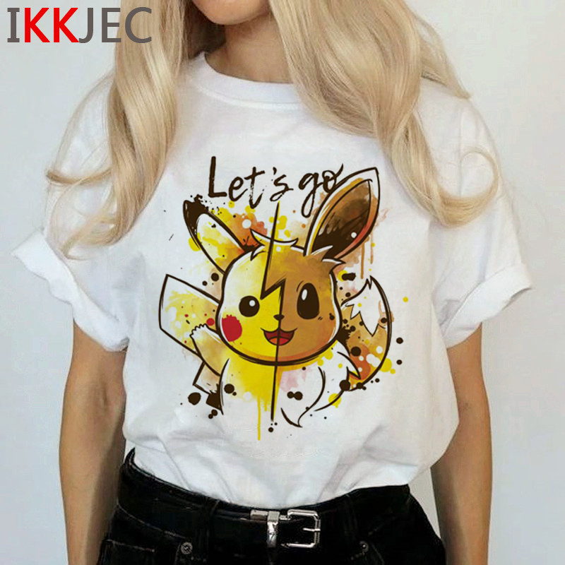 New Pokemon Go Harajuku Kawaii T Shirt Women Ullzang Pikachu Funny Cartoon T-shirt Cute Anime Graphic Tshirt 90s Top Tees Female