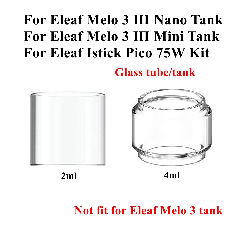 4/1pcs Pack Pyrex Bubble Glass Tube Tank For Eleaf Melo 3 Nano / Mini Tank Atomizer Istick Pico Kit 2ML 4ML