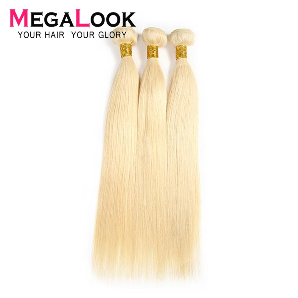 Megalook 613 Hair Bundles Brazilian Honey Blonde Human Hair Weave 3pcs Straight Remy Hair 8-28inch