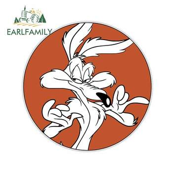 EARLFAMILY 13cm x 13cm for Wile E.Coyote Looking Pleased Auto Decal Vinyl Material Fashion Waterproof Simulation Fun Car Sticker image