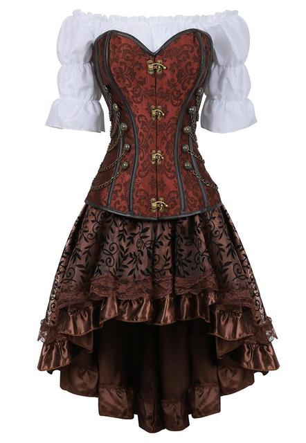 Corset jupe 3 pièces cuir robe bustiers corset steampunk pirate lingerie corsetto irrégulier burlesque grande taille noir marron