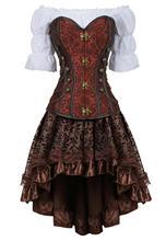 Korse etek 3 parça deri elbise bustiers korse steampunk korsan iç çamaşırı corsetto düzensiz burlesque artı boyutu siyah kahverengi