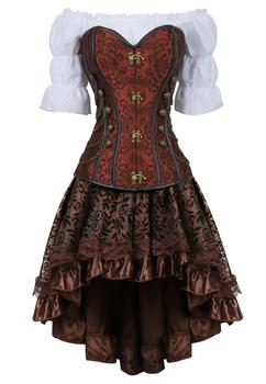 corset skirt 3 piece leather dress bustiers steampunk pirate lingerie corsetto irregular burlesque plus size black brown - discount item  51% OFF Women's Intimates