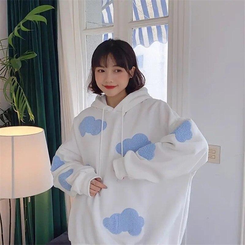 Frauen Blau Wolke Weiß Koreanische Frühling Urlaub Hoodies Student Cartoon Langarm Tops Streetwear Cartoon Lose Nette Hoodies