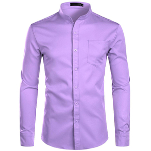 Image 3 - Mens Banded Collar Pink Dress Shirt 2019 Brand New Long Sleeve Casual Button Down Chemise Work Casual Shirt with One Pocket 2XL