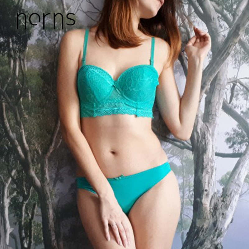 Norns Push Up Half Cup Bra Brief Sets Solid Women Bra And Panty Set Lace Underwear Sets Sexy Lace Brief