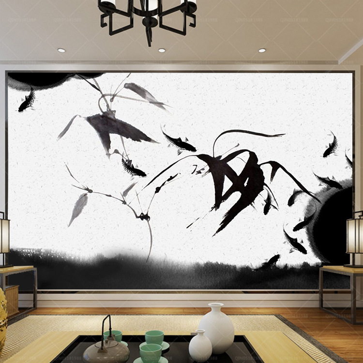 New Chinese Style Black And White Ink Painting Large Wallpaper Ink Rhyme Japanese Style Bamboo Leaf Artistic Conception Living R
