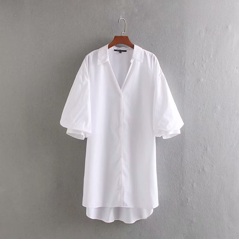 2020 Women Fashion Turn Down Collar Casual Long Poplin Blouse Office Lady Lantern Sleeve Shirts Leisure Chic Chemise Tops LS6555