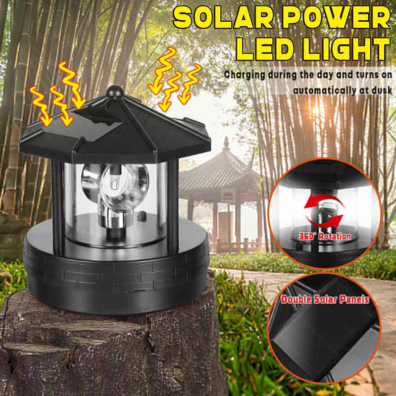 Spot Solar Led Roterende Vuurtoren Light Tuin Yard Gazon Lamp Verlichting Outdoor Home Decor Vj-Drop