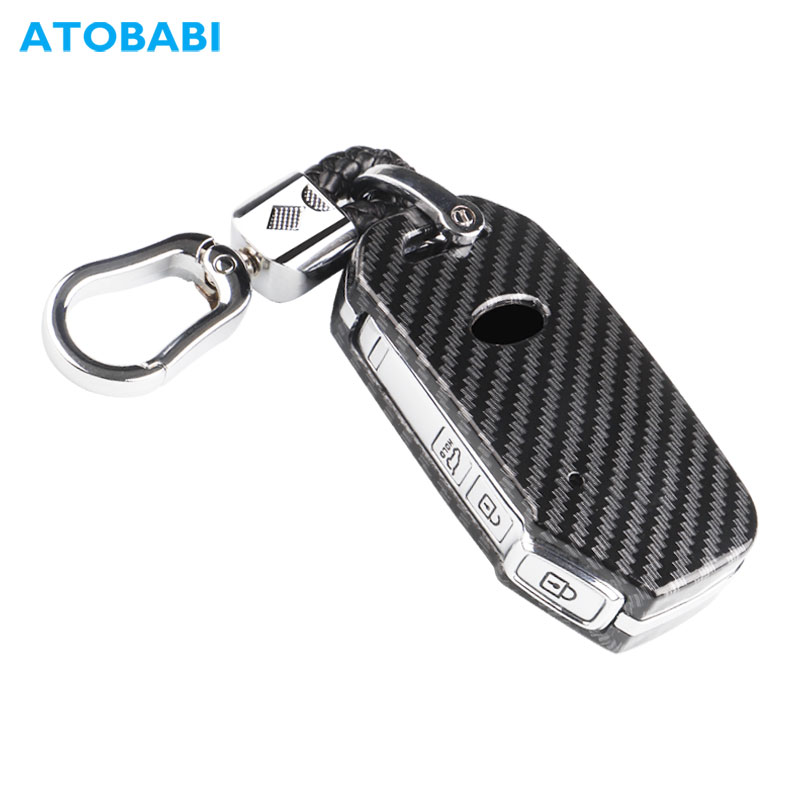 ABS Car Key Case Carbon Smart Keychain Holder Remote Control Protector Cover For Kia Soul Seltos Telluride Forte 2019 2020 2021