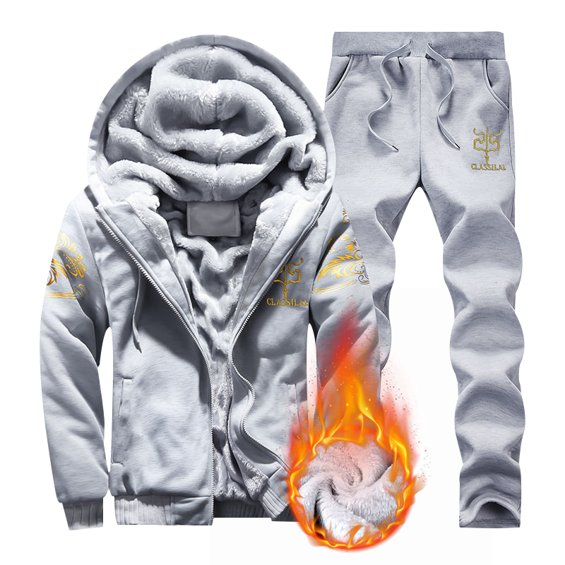 Fleece Hoodies Jacket Winter Sweatshirts Tracksuit Moleton Warm Thicken Mens 2PC Casual