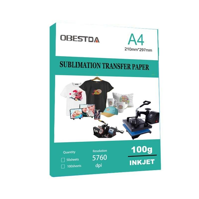Сублимационная бумага A4 для термопереноса, 100 листов, для полиэстера, хлопка, футболки, подушек, ткани, кружек, чехлов для телефона