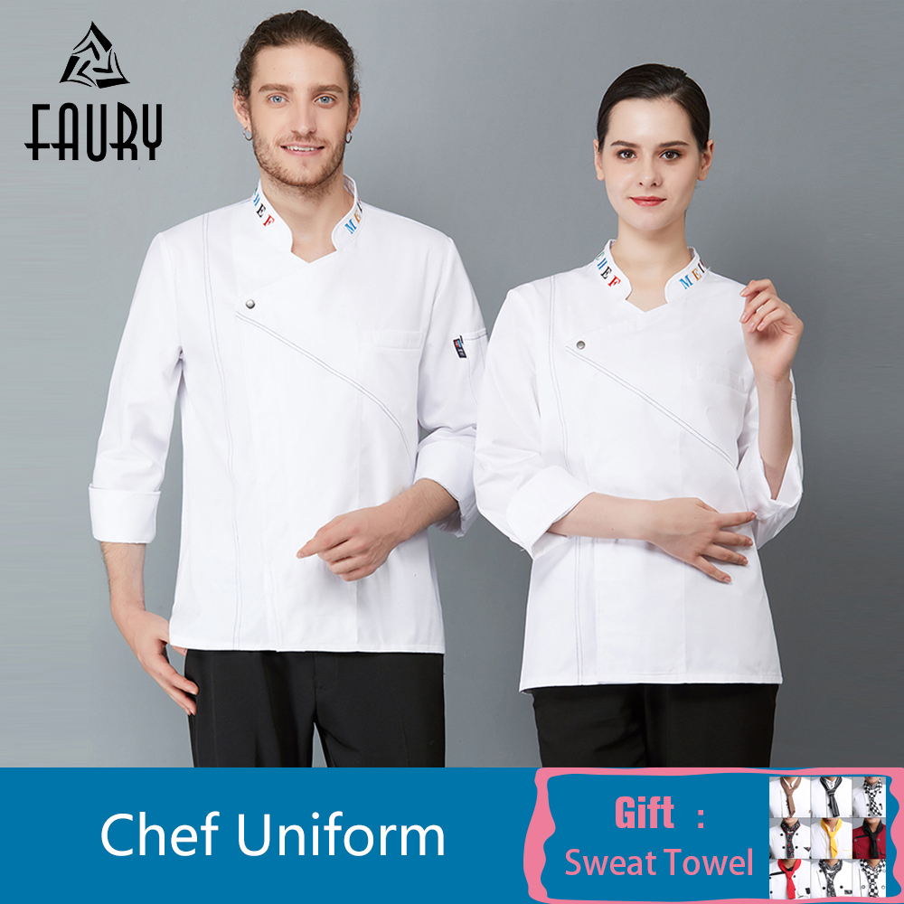 New Men Women Cook Wear Restaurant Chef Jacket Kitchen Uniform Shirt Long Sleeve Hotel Catering Coffee Shop Cooking Clothes