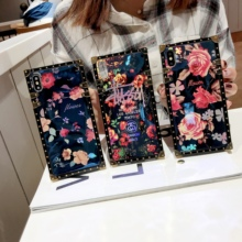 Blu-ray Rose Flower Set  for OPPOR9 R9S R11 R15 R17 Square Phone Case Laser Case for OPPO R9 R9S R11Plus R17Pro A73 A75 A83Funda цена и фото