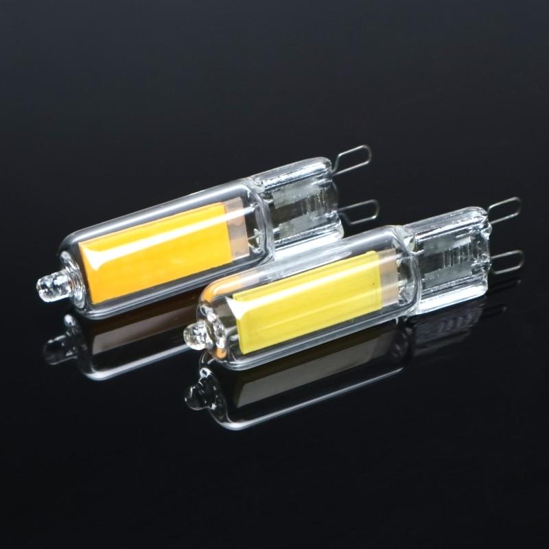 G9 светодиодный светильник лампы с регулируемой яркостью, 6 Вт, 9 Вт COB Стекло светодиодный лампы заменить 40 Вт 60 Вт галогенной лампы для подве...