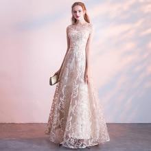 Вечерние платья Элегантные водолазка аппликации длина до пола вечерние платье простое кружево трапеция молния спина формальный платье