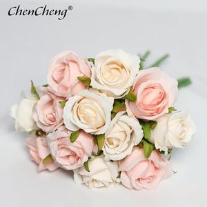 Chencheng 12 Stuks/partij Rozen Kunstbloemen Bruidsboeket Zijde Nep Bloem Party Home Fall Decor Valentijnsdag Gift(China)