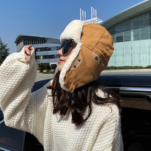 Fur Hats Caps Bomber-Fur Winter Women Plush Warm Cold Ear-Protector Skiing-Pilot Outside-Riding