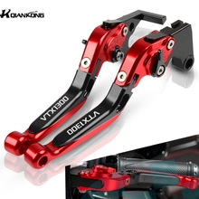 цена на Motorcycle Brake Levers CNC Aliuminum VTX1300 LOGO Brake Clutch Lever Handlebar For Honda VTX 1300 2003 2004 2005 2006 2007 2008