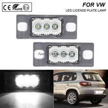 цена на A Pair LED Number License Plate Lights Number Plate Holder Lamp No Error For VW Touareg Tiguan Golf 5 Passat 5D