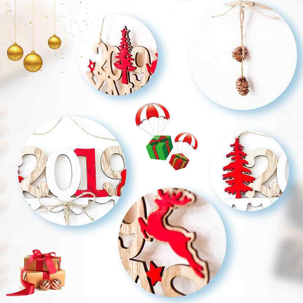 1 шт. деревянные висячие Подвески Рождественская елка висячие украшения с новогодней открытка Новогодние украшения для дома