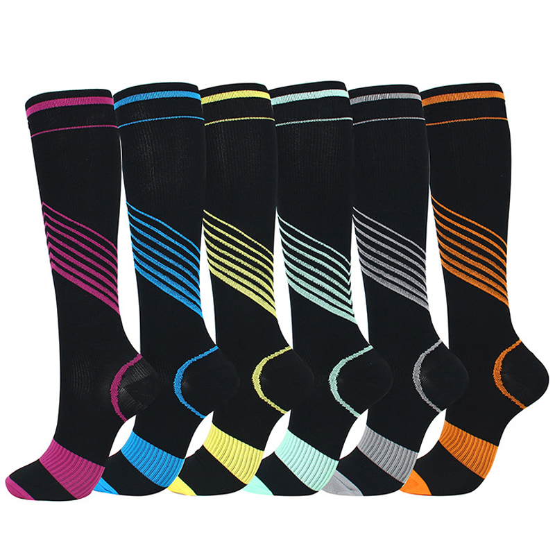 Elastic Compression Socks Men Women Knee High Colorful Stripe Pattern Sport Support Socks For Running Soccer Basketball Sports