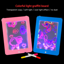 Portable LED luminous drawing board Graffiti Doodle Tablet Magic Draw with light-funny fluorescent pen educational toy