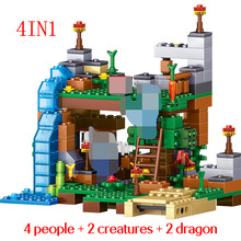 378 Pcs My World Building Blocks Bricks 4 IN 1 Garden Guardian  Compatible LG DIY Assembling Blocks Action Figures Children Toy diy building blocks bricks my world compatible legoed minecrafted set steve alex reuben figures city toy for children