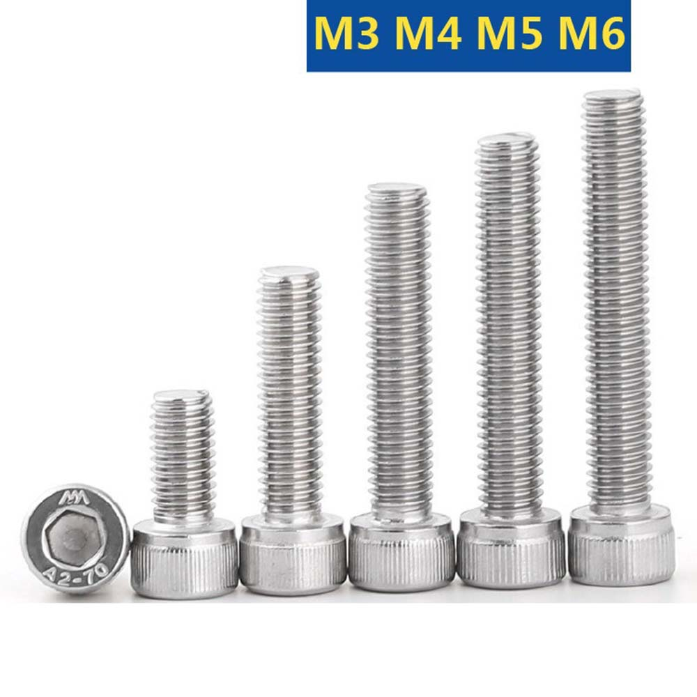 304 A2 Винты M3 M4 M5 M6 нержавеющая сталь DIN912 Шестигранная головка с шестигранным отверстием болт с шестигранным отверстием L = 6-60 мм
