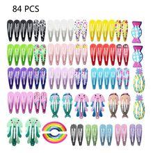84 шт Разноцветные заколки для волос маленькие защелкивающиеся зажимы металлические заколки различные стили заколки для волос аксессуары для маленьких девочек Toddl