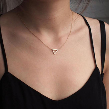 NEW Simple Chains Necklaces Triangle Necklace Delicate Minimal Triangle Necklace For Women Charm Necklace delicate layered tassel necklace for women