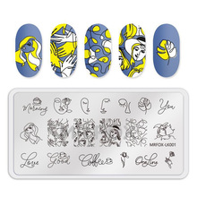 Stencil Stamping-Plates Nail Image Rectangle Girl WAKEFULNESS Lines Artistic Sexy