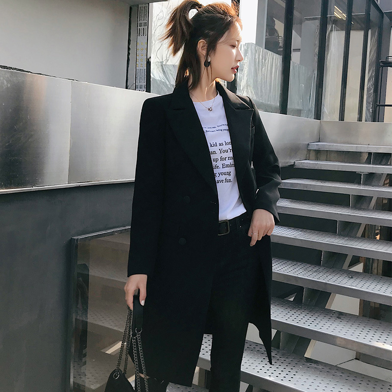 2019 Spring and Autumn Korean Version of The Self-cultivation Casual Small Suit Jacket Black Chic Casual Waist Small Suit Female