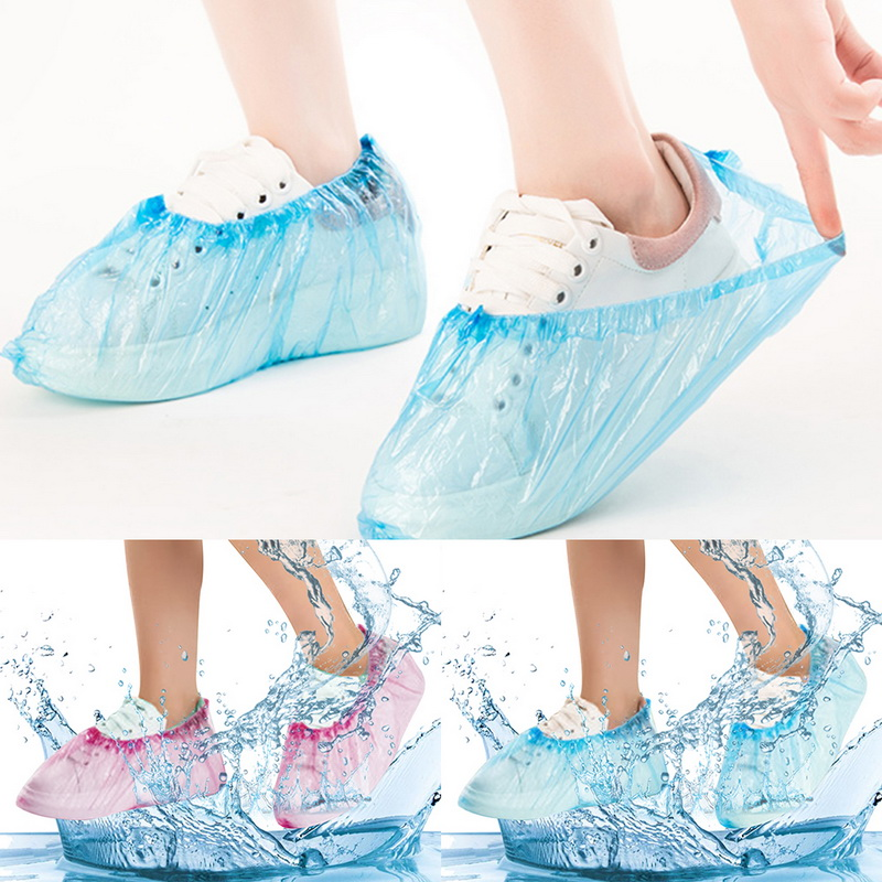 JODIMITTY 100 Pcs/Pack Medical Waterproof Boot Covers Plastic Disposable Shoe Covers Homes Overshoes Freeshipping