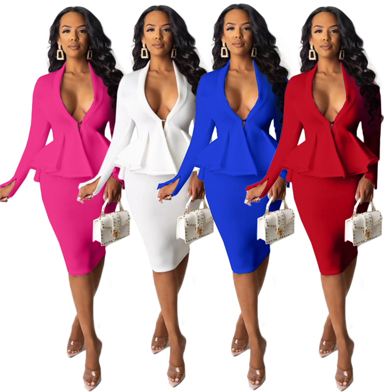 Adogirl Solid Office Lady Two Piece Set Sexy V Neck Long Sleeve Ruffle Hem Blazer Coat Top Pencil Midi Skirt Business Work Wear