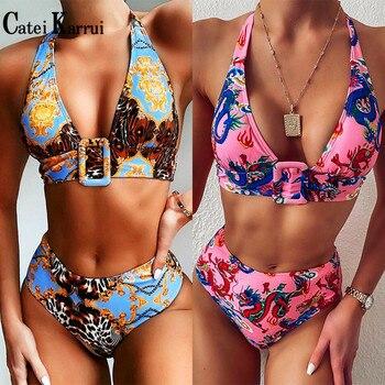 Catei Karrui 2020 high waist printed Halter Bikini women's split swimwear pop swimwear swimming pool party essential sexy bikini