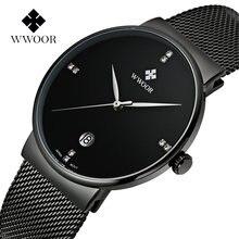 Модные мужские кварцевые часы с датой деловые черные wwoor роскошные