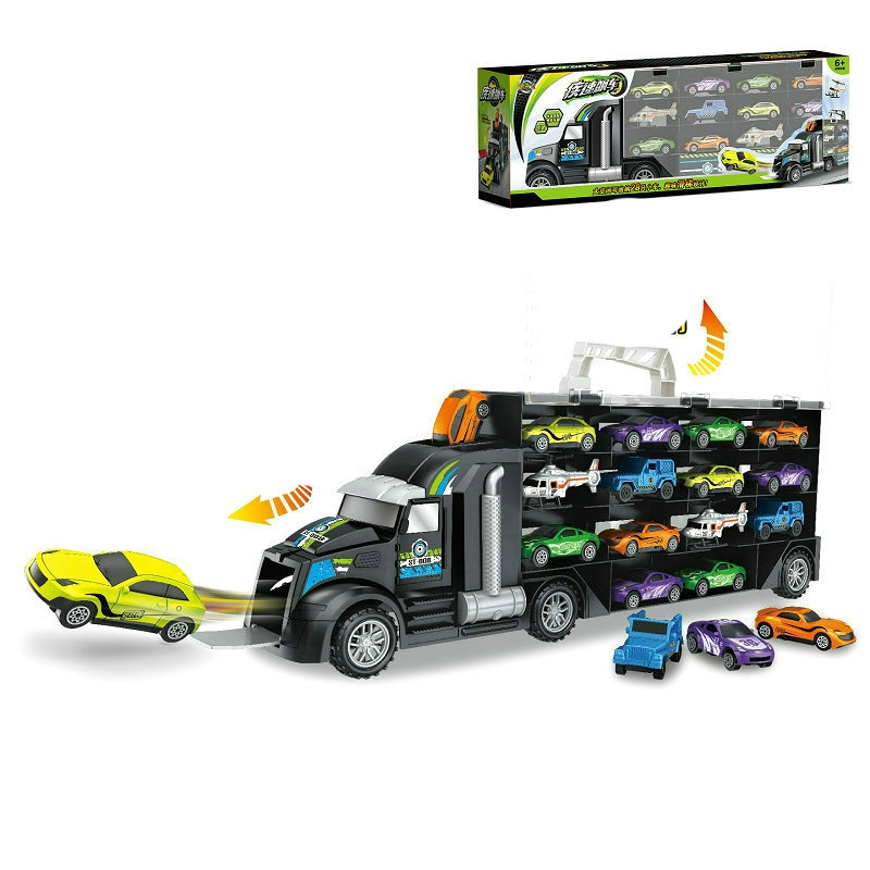 Van Boy Toys For Children (including Alloy 12 Cars Or 12 Dinosaurs, 2 Helicopters)