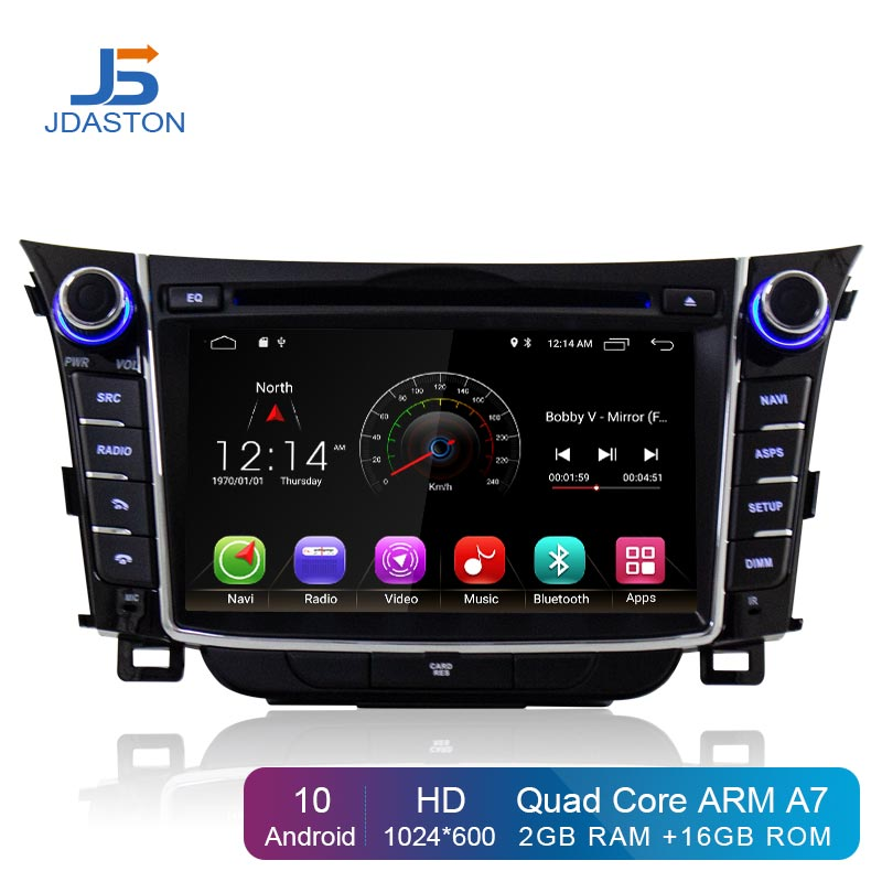JDASTON Android 10.0 Auto DVD Player Fü<font><b>r</b></font> Hyundai <font><b>I30</b></font> Elantra GT 2012-2017 Multimedia GPS Navigation 2 Din Auto Radio audio Stereo image