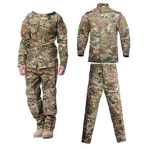 Military Uniform Camouflage Tactical Suit Men Army Special Forces Combat Shirt Coat Pant Set Camouflage Militar Soldier Clothes