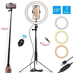 LED Professional Ring Light With Stand Youtube Vidoe Live Photo Studio Lighting Makeup Phone Ring Lamp With 150cm Tripod