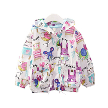 Spring  Autumn New Cotton Baby Girls Coat Watercolor Printed Jacket Cardigan Kids Children Clothing 2-6Years