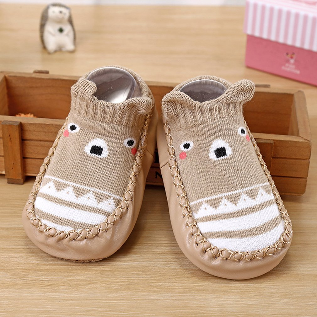Fashion Cartoon Baby Shoes Anti-skid Leather Outsole Toddlers Shoes Socks For Boys Girls Lightweight Casual Shoes