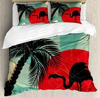 Tropical Duvet Cover Set Retro Style Grunge Hawaiian Composition with Flamingo Silhouette and Palm Trees Decorative 3 Piece Bed|Duvet Cover|   -