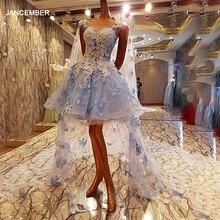 LS00084 짧은 이브닝 드레스 2020 긴 케이프 볼 가운 긴 파티 공식 드레스 실제 사진 꽃 Appliques