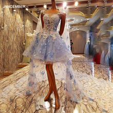 LS00084 Short Evening Dress 2020 With Long Cape Ball Gown Long Party Formal Dress Real Photos Flowers Appliques