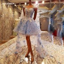 Vestido de noche corto LS00084 con capa larga, Vestido largo de fiesta Formal, fotos reales, apliques de flores, 2020